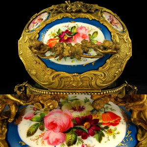 Large Antique French Bronze or Brass Jewelry Casket, Box, with Hand Painted Porcelain Plaques, Flowers & Cherubs