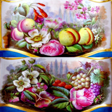 Large Antique French Porcelain Jardiniere, Matching Tray, Hand Painted Fruit & Flower Scenes,