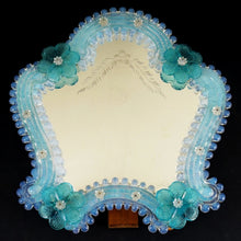 Load image into Gallery viewer, Italian Venetian Murano Art Glass Vanity Table Wall Mirror, Opalescent Blue Rosettes