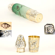 Load image into Gallery viewer, Signed Daum Nancy French Sterling Silver Cameo Glass Liquor Flask