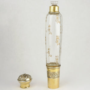 Antique French Sterling Silver & Signed Daum Nancy Glass Traveling Opera Liquor Flask Gold Vermeil