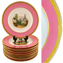 Load image into Gallery viewer, Antique 19c Minton English Porcelain Pink & Gold Encrusted Hand Painted Plates & Compote
