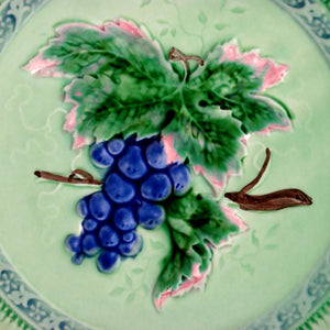 Vintage W. German Majolica Plate Grape Motif