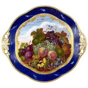 Antique French Sevres Porcelain Plate Gilt & Blue Lapis Border, Hand Painted Fruit Still Life