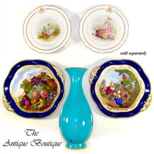Load image into Gallery viewer, Antique French Sevres Porcelain Plate Gilt & Blue Lapis Border, Hand Painted Fruit Still Life
