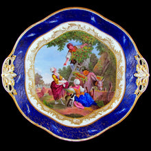 Load image into Gallery viewer, Antique French Sevres Porcelain Plate Gilt & Blue Lapis Border, Hand Painted Pastoral Scene