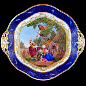 Antique French Sevres Porcelain Plate Gilt & Blue Lapis Border, Hand Painted Pastoral Scene