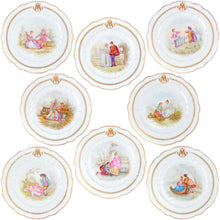 "Load image into Gallery viewer, Set of Antique French Sevres Porcelain Hand Painted 10"" Plates"