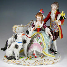 Load image into Gallery viewer, Antique Sitzendorf German Porcelain Group Figurine with Borzoi Dogs