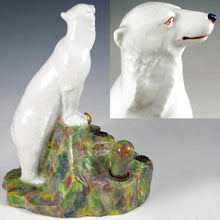 Load image into Gallery viewer, Art Deco French Gabriel Fourmaintraux Desvres Faience Polar Bear Inkwell