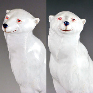 Art Deco French Gabriel Fourmaintraux Desvres Faience Polar Bear Inkwell