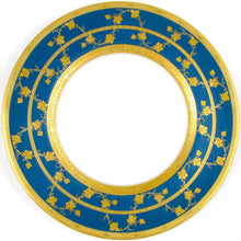 Load image into Gallery viewer, Royal Worcester English Porcelain Gold Encrusted Raised Gilt Enamel Blue Dinner / Service Plates Set