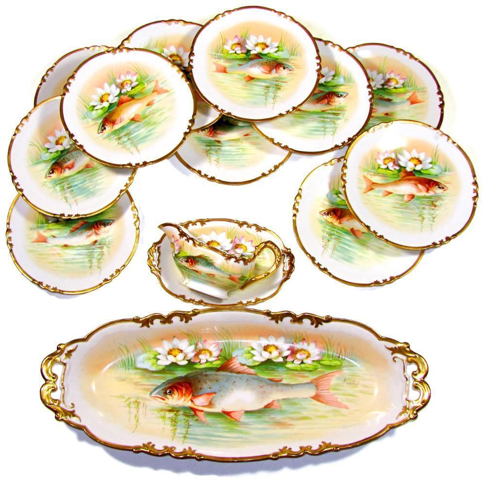 14pc Antique French Limoges Porcelain Signed Hand Painted Fish Set