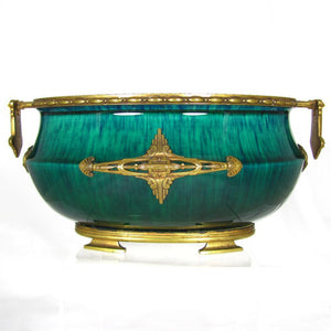 Paul Milet for Sevres French Porcelain Jardiniere, Flambe Glaze, Signed DELAUNAY Bronze Mounts