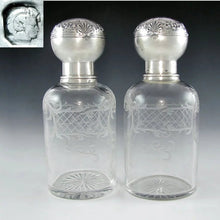 Load image into Gallery viewer, Pair Antique 19c French Sterling Silver Repousse Baccarat Engraved Crystal Perfume / Cologne Bottles