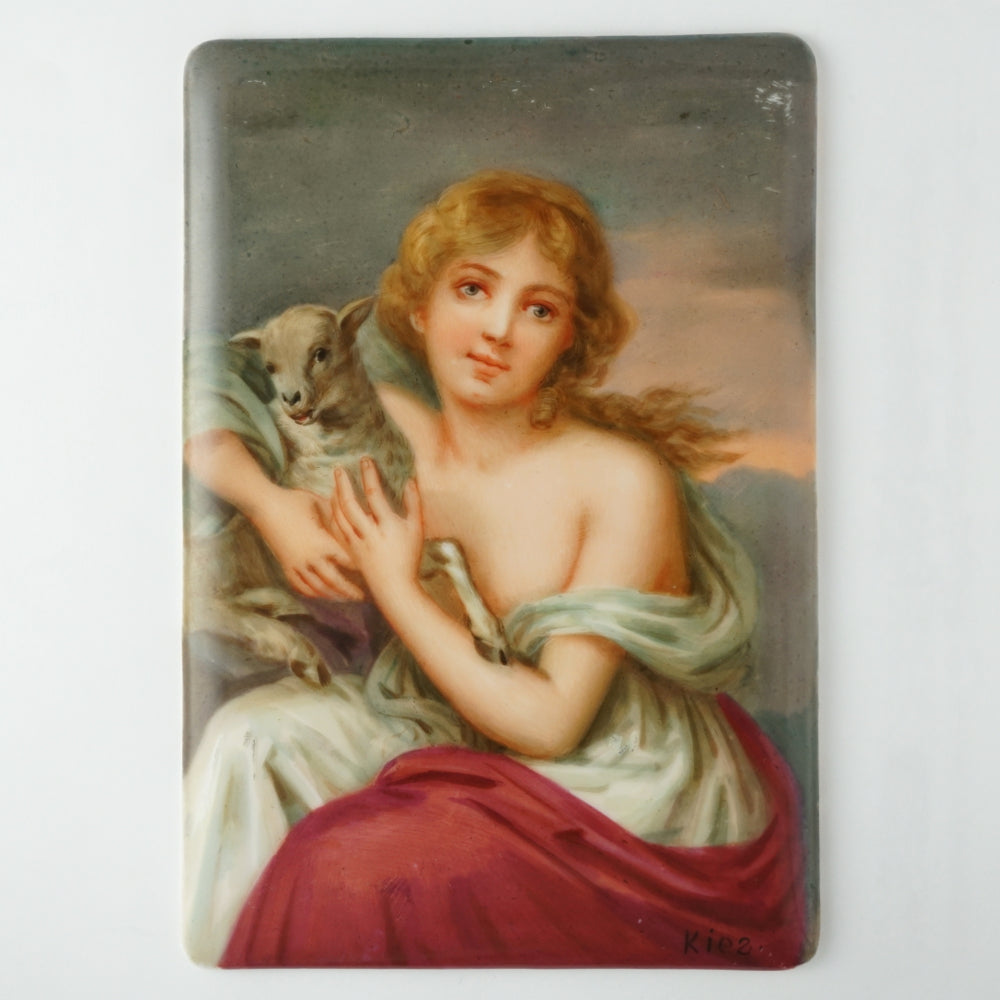 Antique Hutschenreuther Porcelain Plaque Hand Painted Portrait Girl with a Lamb