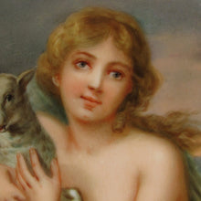 Load image into Gallery viewer, Antique Hutschenreuther Porcelain Plaque Hand Painted Portrait Girl with a Lamb