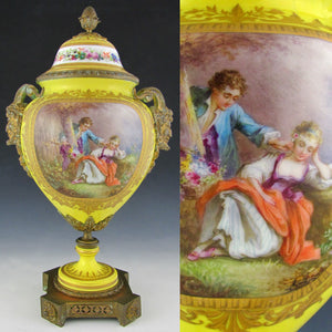 Antique French Sevres Style Hand Painted Porcelain Urn