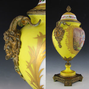 Antique French Sevres Style Hand Painted Porcelain Urn, Bronze Satyr Handles