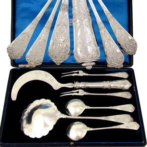 6pc Antique French Sterling Silver Serving Set, Dessert, Berry & Ice Cream