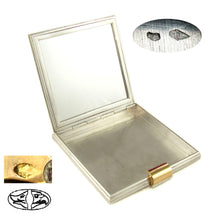 Load image into Gallery viewer, Art Deco French Silver & 18K Gold Ruby Jeweled Powder Compact & Lipstick Holder