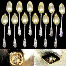 Load image into Gallery viewer, 12 Antique French Sterling Silver Dessert or Coffee Spoons