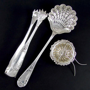 3pc Antique French Sterling Silver Tea, Coffee & Dessert Serving Set