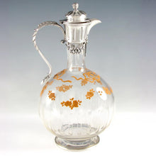 Load image into Gallery viewer, Antique French Sterling Silver Cut Crystal Glass Carafe, Raised Enamel Flowers