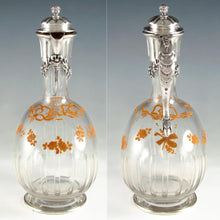 Antique French Sterling Silver Cut Crystal Glass Carafe, Raised Enamel Flowers