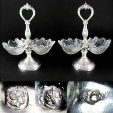 Load image into Gallery viewer, Pair Antique French Sterling Silver & Glass Double Open Salt Caddy, Scalloped Shells