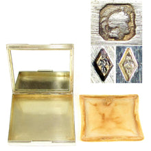 Load image into Gallery viewer, Art Deco French Sterling Silver Jeweled Sapphires Compact Mirror