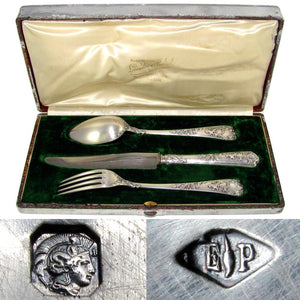 PUIFORCAT Antique French Sterling Silver 3pc Traveler's Dinner Flatware Set