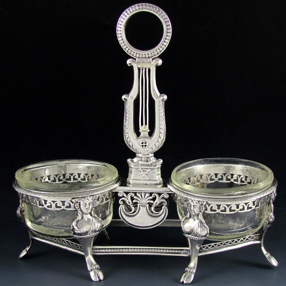 Ambroise Mignerot Antique French Sterling Silver Grand Double Salt Cellar