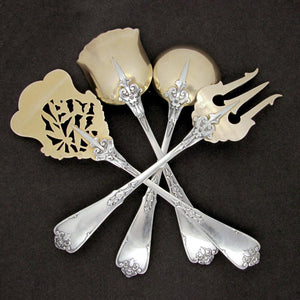 Antique French Sterling Silver Gilt Vermeil Hors d'Oeuvre Servers