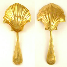 Antique French .800 Silver Gilt Vermeil Scalloped Shell Tea Caddy Spoon