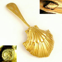 Load image into Gallery viewer, Antique French .800 Silver Gilt Vermeil Scalloped Shell Tea Caddy Spoon