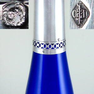 "17"" TALL French Sterling Silver Cut Crystal Cobalt Blue Decanter in Original Box"