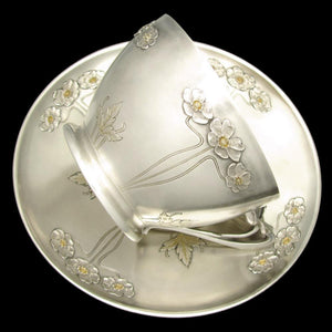 Large Art Nouveau French Sterling Silver Gilt Vermeil Cup & Saucer, Chocolate, Tea or Coffee, 333.7g