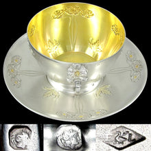 Load image into Gallery viewer, Large Art Nouveau French Sterling Silver Gilt Vermeil Cup & Saucer, Chocolate, Tea or Coffee, 333.7g