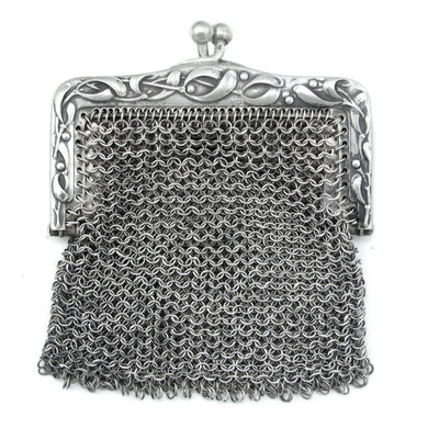 Art Nouveau French .800 Silver Chain Mail Mesh Chatelaine Purse, Mistletoe Decoration