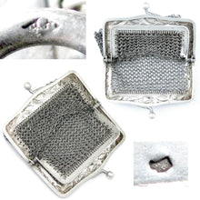 Load image into Gallery viewer, Art Nouveau French .800 Silver Chain Mail Mesh Chatelaine Purse, Mistletoe Decoration
