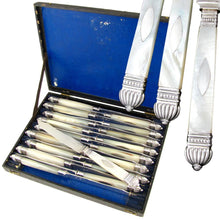 Antique French Sterling Silver Mother of Pearl Knives, Table Cutlery