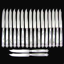 Set of 18 Antique French Sterling Silver Table Knives, Mother of Pearl Handles, Dinner or Dessert Knife Set