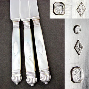 18pc Antique French Sterling Silver Mother of Pearl Cutlery Set