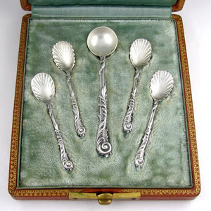Antique French Sterling Silver Salt & Mustard Spoons Condiment Set