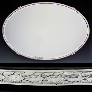 Large Antique French Silver Hallmarked Mirror Plateau Centerpiece