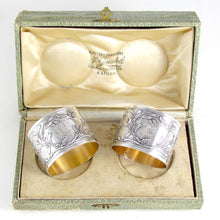 Load image into Gallery viewer, Pair Antique French Sterling Silver Napkin Rings, Neoclassical Foliage & Ribbon