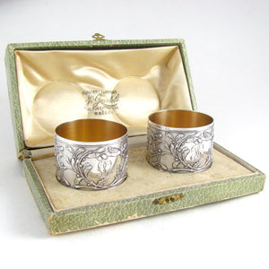 Pair Antique French Sterling Silver Napkin Rings, Neoclassical Foliage & Ribbon