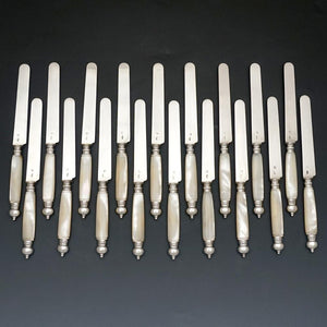 French Sterling Silver Mother of Pearl Knives, Antique Table Knife Set