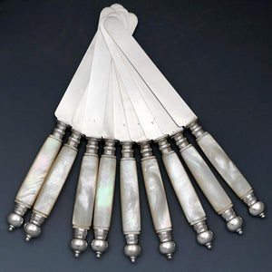 Set of Antique French Sterling Silver Table Knives with Mother of Pearl Handles